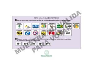 Tarjeta Electoral Representación de Colombia en el Parlamento Andino 2010